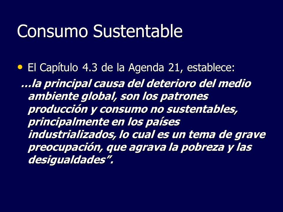 Consumo Sustentable El Capítulo 4.3 de la Agenda 21, establece: