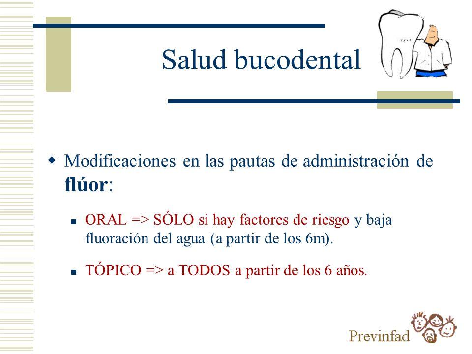 Salud bucodental Modificaciones en las pautas de administración de flúor:
