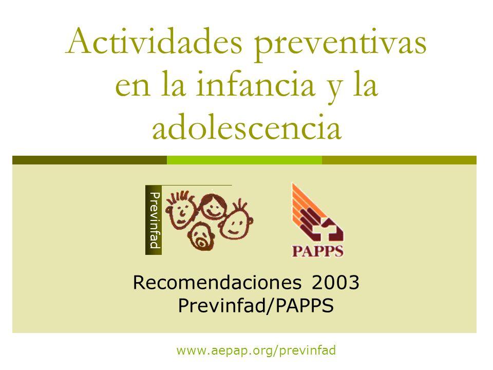 Actividades preventivas en la infancia y la adolescencia