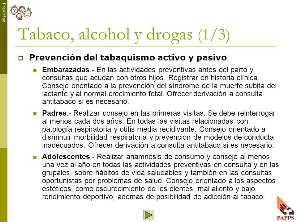 Tabaco, alcohol y drogas (1/3)