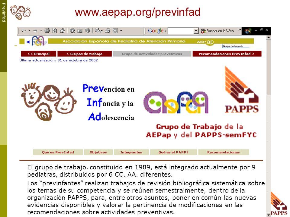 www.aepap.org/previnfad El grupo de trabajo, constituido en 1989, está integrado actualmente por 9 pediatras, distribuidos por 6 CC. AA. diferentes.