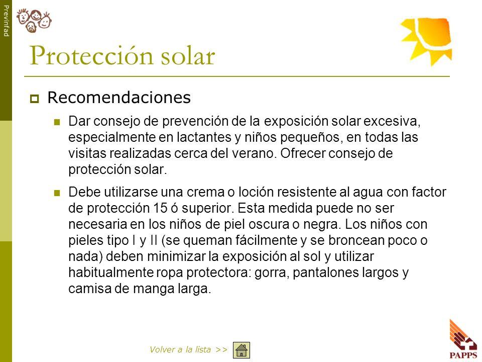Protección solar Recomendaciones