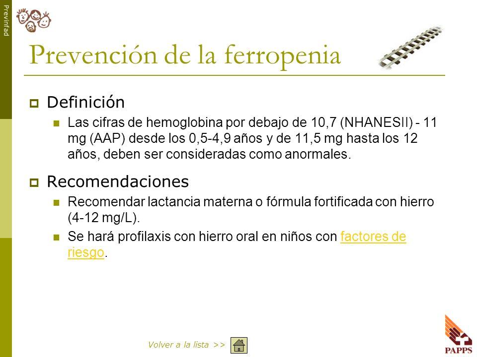 Prevención de la ferropenia
