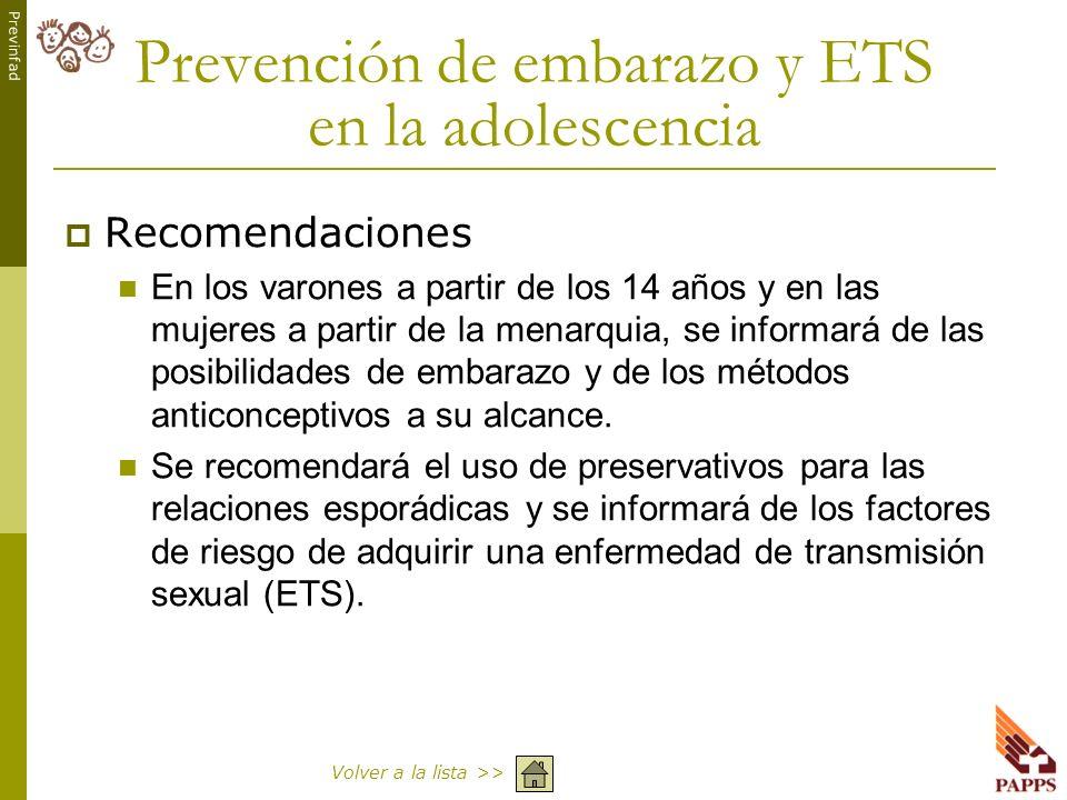 Prevención de embarazo y ETS en la adolescencia