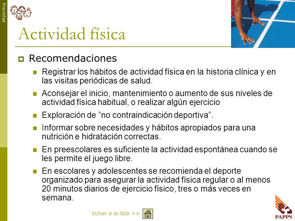 Actividad física Recomendaciones