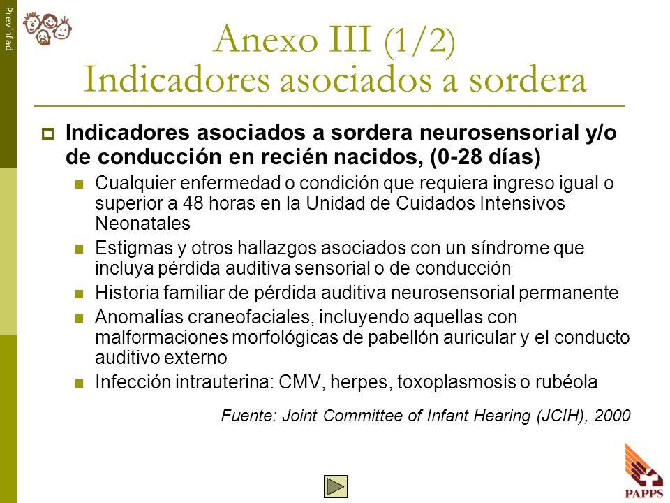 Anexo III (1/2) Indicadores asociados a sordera