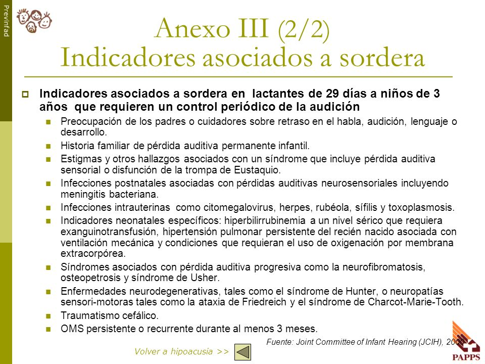 Anexo III (2/2) Indicadores asociados a sordera