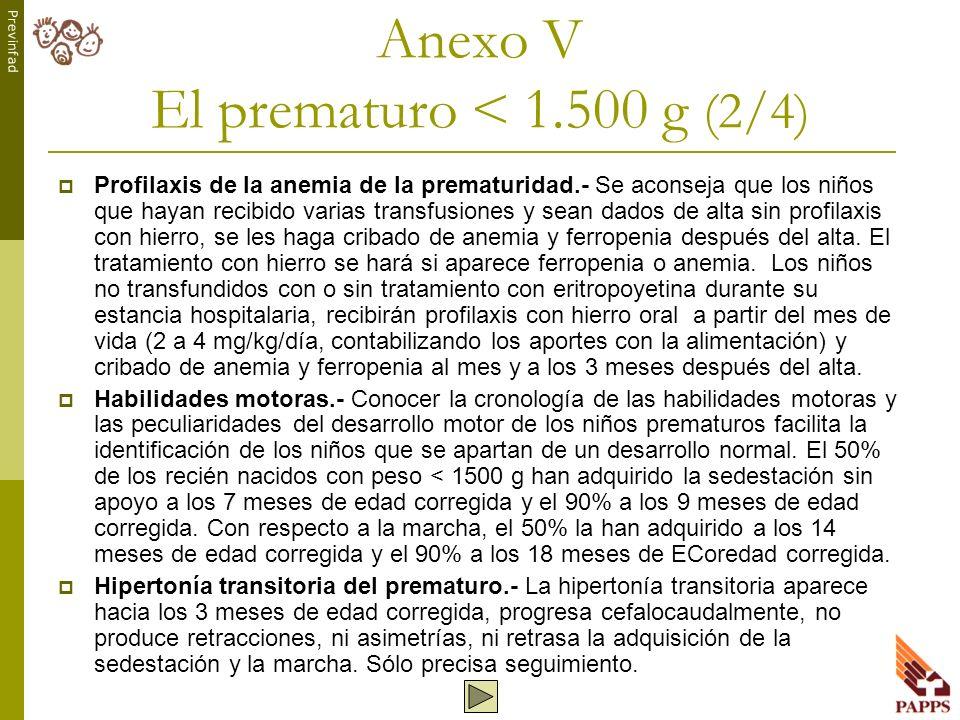 Anexo V El prematuro < 1.500 g (2/4)