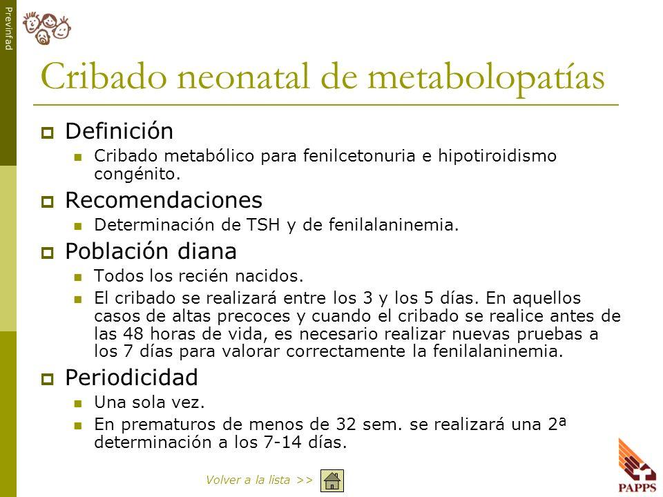 Cribado neonatal de metabolopatías