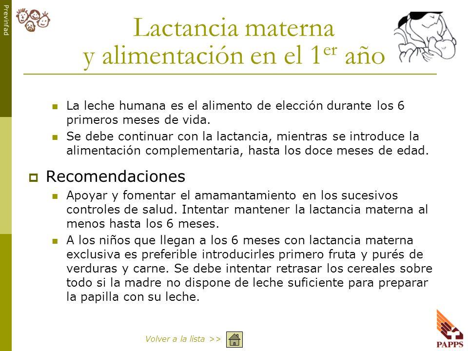 Lactancia materna y alimentación en el 1er año