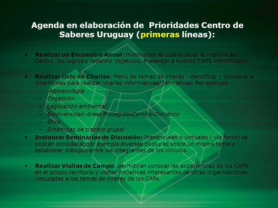 Agenda en elaboración de Prioridades Centro de Saberes Uruguay (primeras líneas):