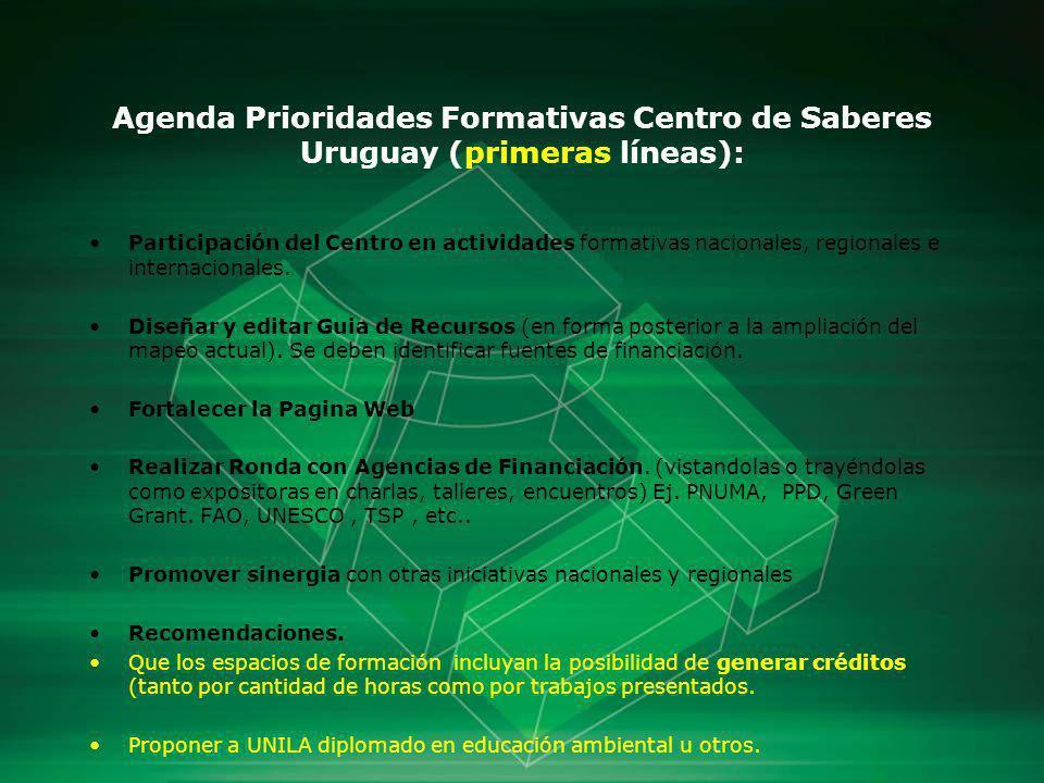 Agenda Prioridades Formativas Centro de Saberes Uruguay (primeras líneas):