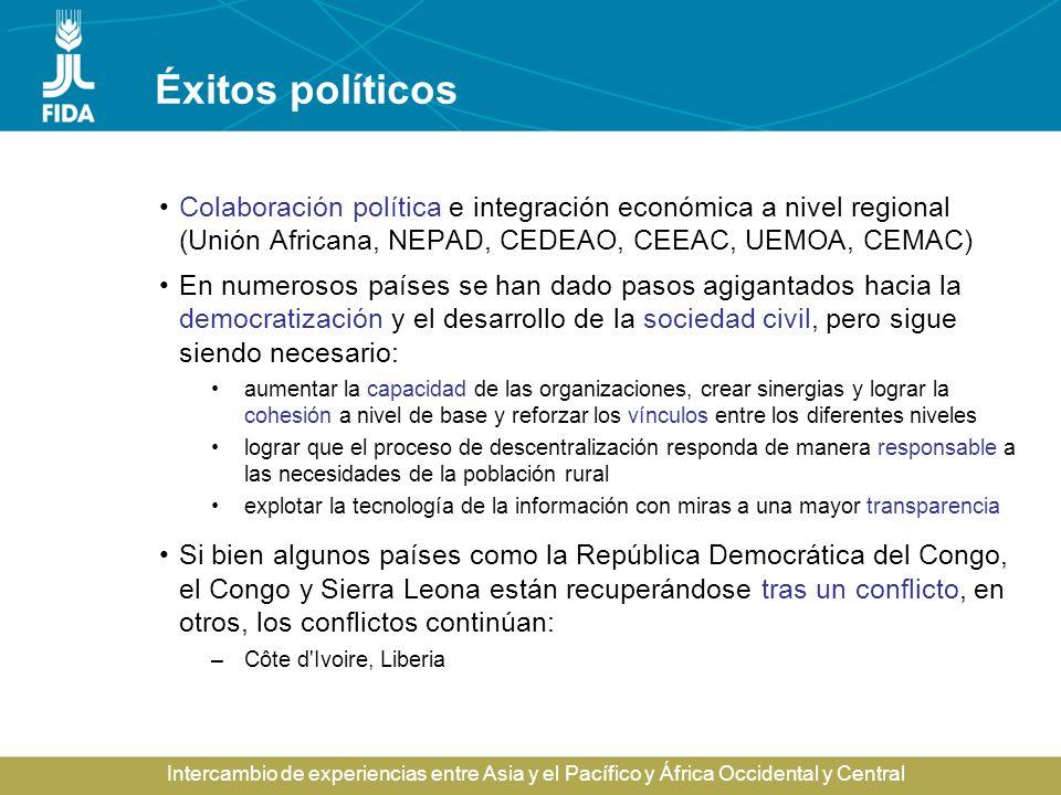Éxitos políticos Colaboración política e integración económica a nivel regional (Unión Africana, NEPAD, CEDEAO, CEEAC, UEMOA, CEMAC)