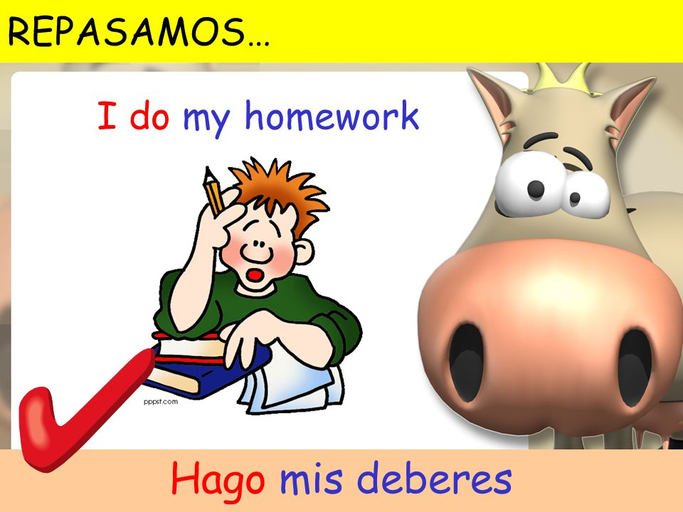 REPASAMOS… I do my homework Hago mis deberes