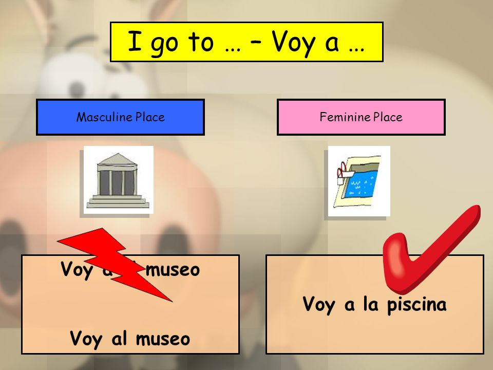 I go to … – Voy a … Voy a el museo Voy a la piscina Voy al museo