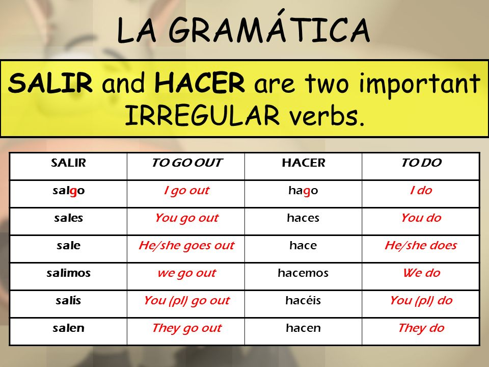 SALIR and HACER are two important IRREGULAR verbs.