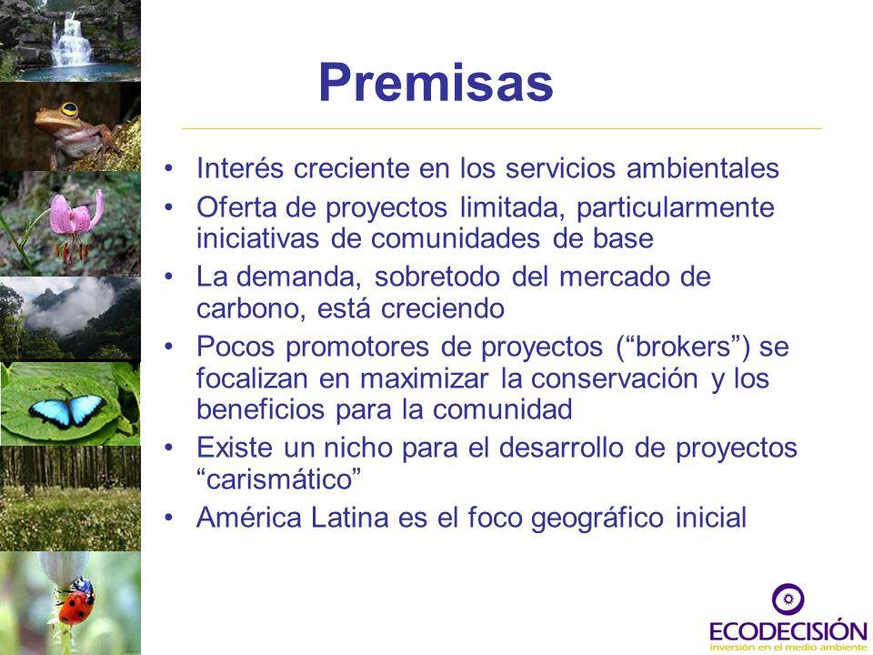 Premisas Interés creciente en los servicios ambientales