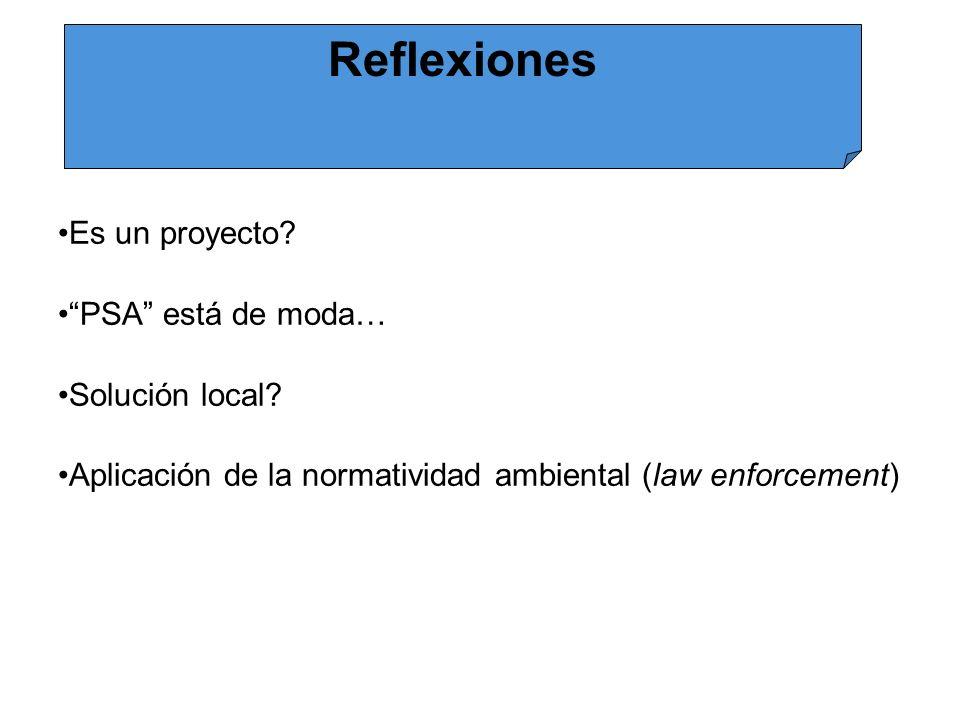 Reflexiones Es un proyecto PSA está de moda… Solución local