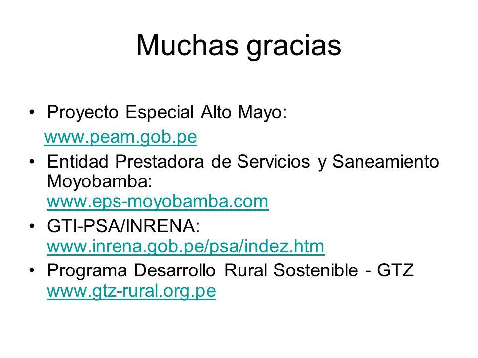 Muchas gracias Proyecto Especial Alto Mayo: www.peam.gob.pe