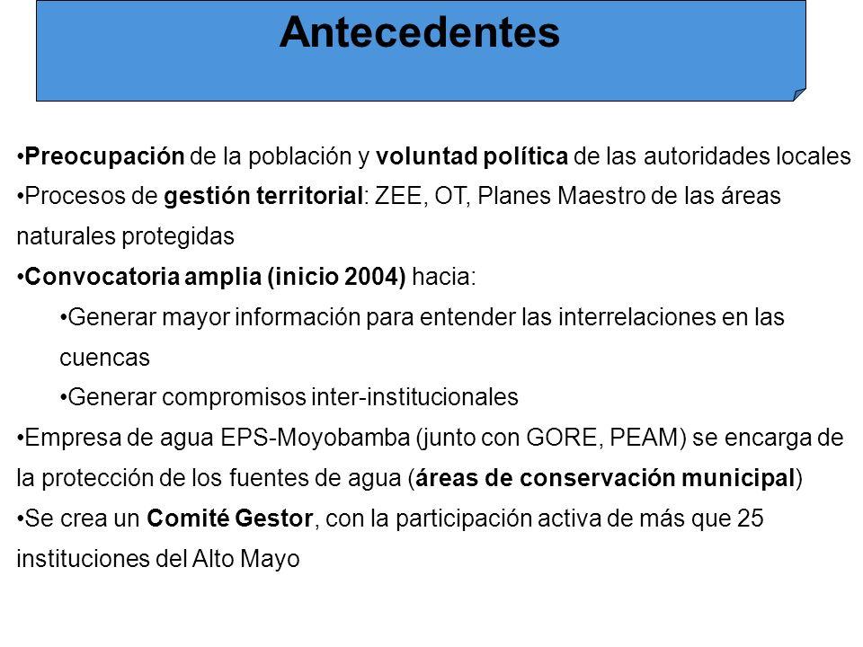 Antecedentes Preocupación de la población y voluntad política de las autoridades locales.