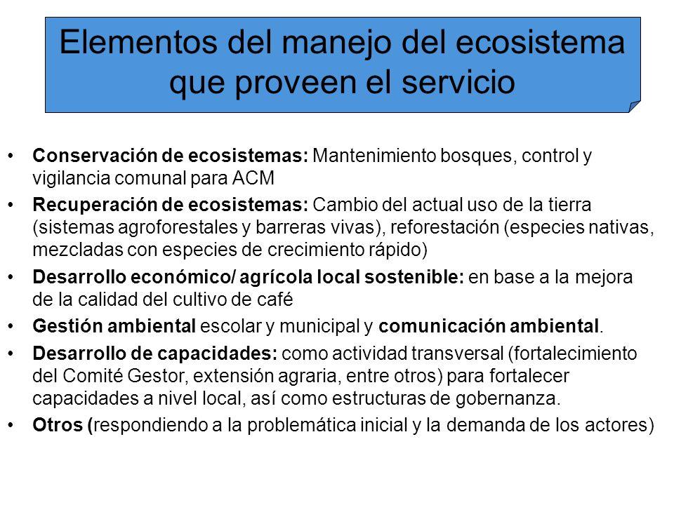 Elementos del manejo del ecosistema que proveen el servicio