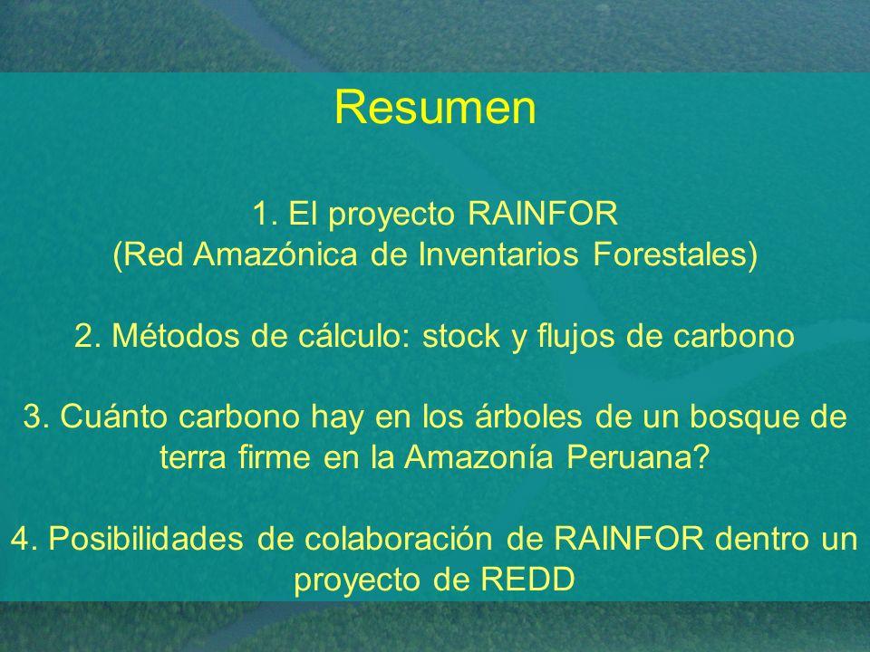 Resumen 1. El proyecto RAINFOR (Red Amazónica de Inventarios Forestales) 2.