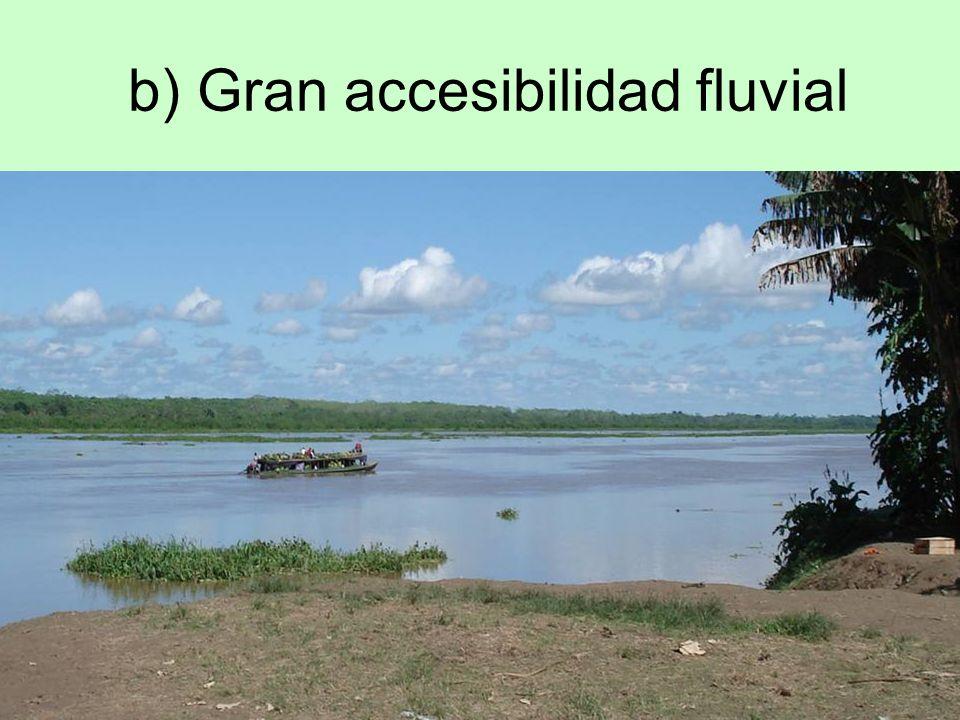 b) Gran accesibilidad fluvial