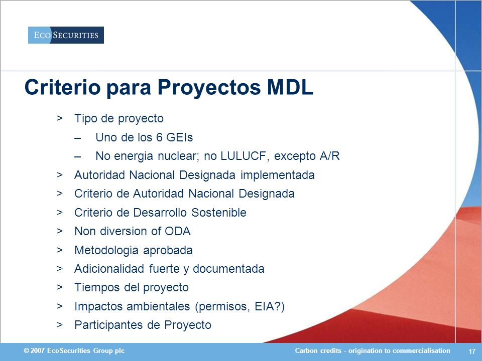 Criterio para Proyectos MDL