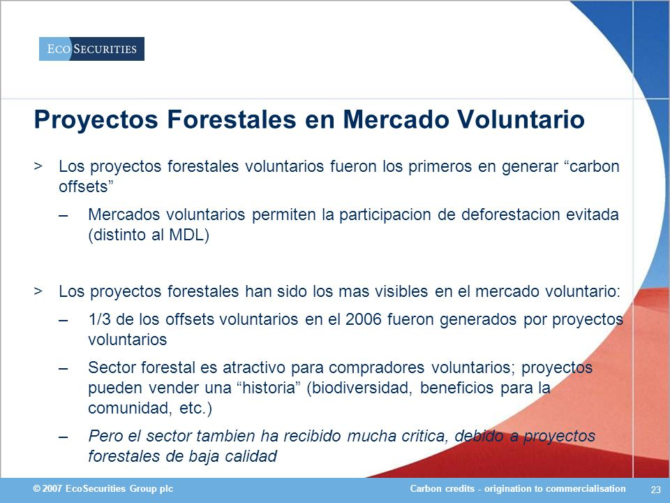 Proyectos Forestales en Mercado Voluntario