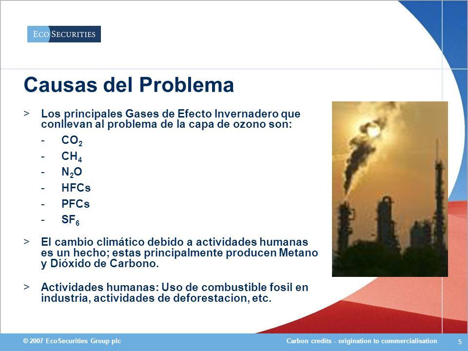 Causas del Problema Los principales Gases de Efecto Invernadero que conllevan al problema de la capa de ozono son: