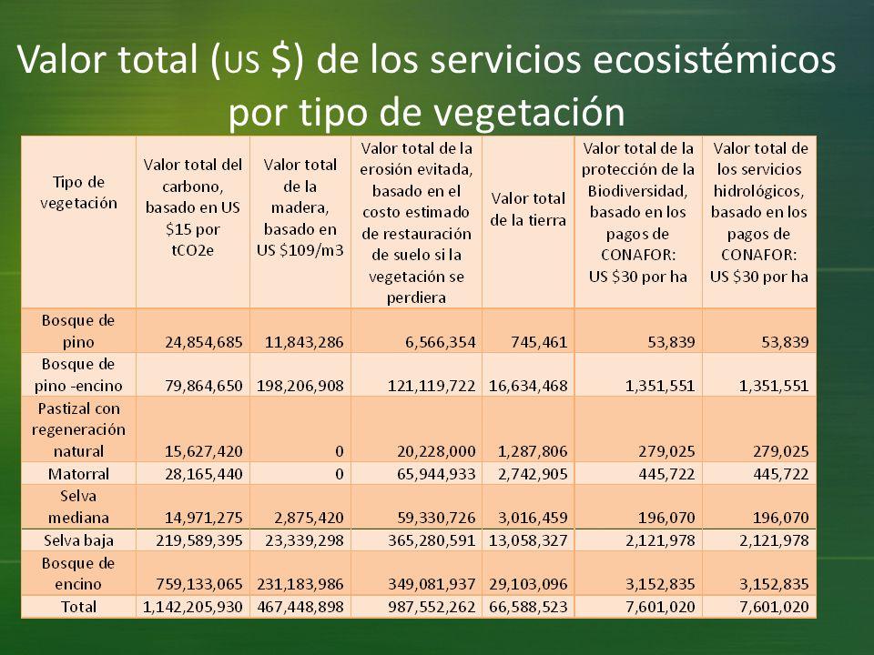 Valor total (US $) de los servicios ecosistémicos por tipo de vegetación