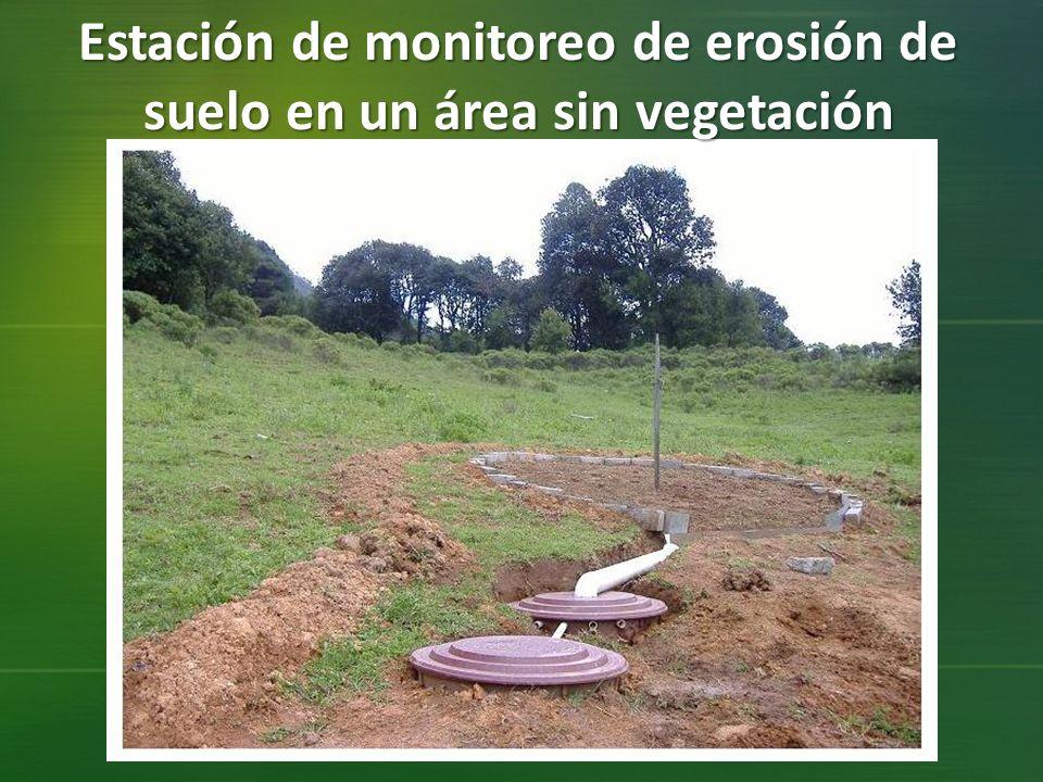 Estación de monitoreo de erosión de suelo en un área sin vegetación
