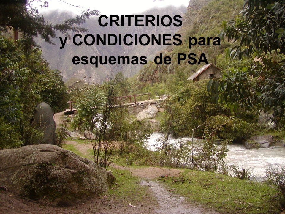 CRITERIOS y CONDICIONES para esquemas de PSA