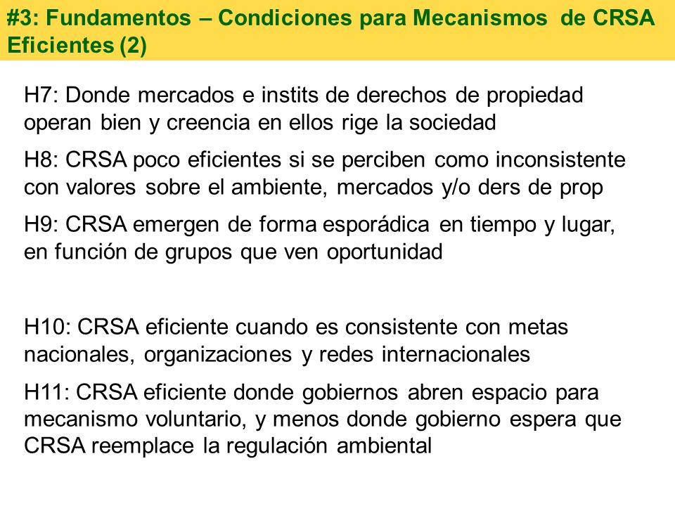 #3: Fundamentos – Condiciones para Mecanismos de CRSA Eficientes (2)