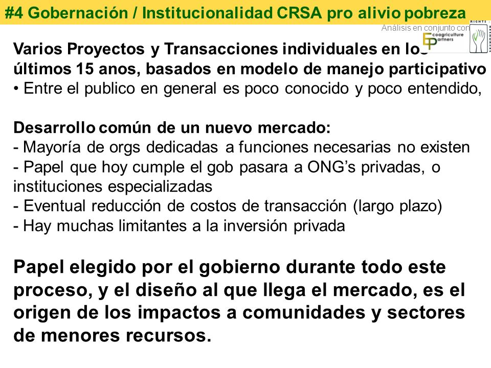 #4 Gobernación / Institucionalidad CRSA pro alivio pobreza