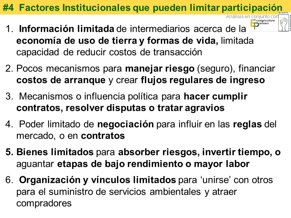 #4 Factores Institucionales que pueden limitar participación