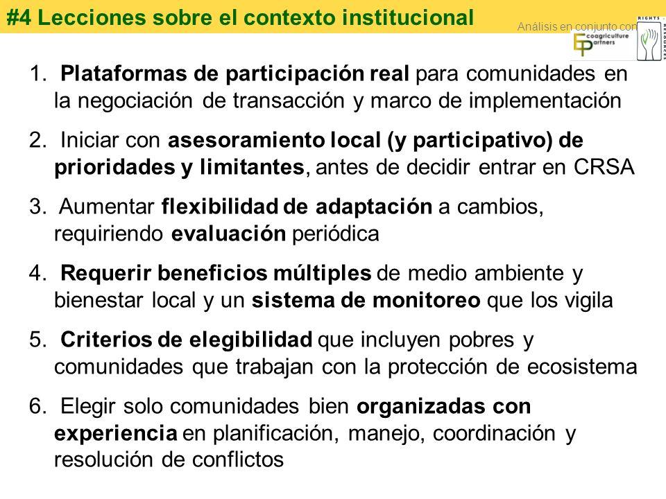 #4 Lecciones sobre el contexto institucional