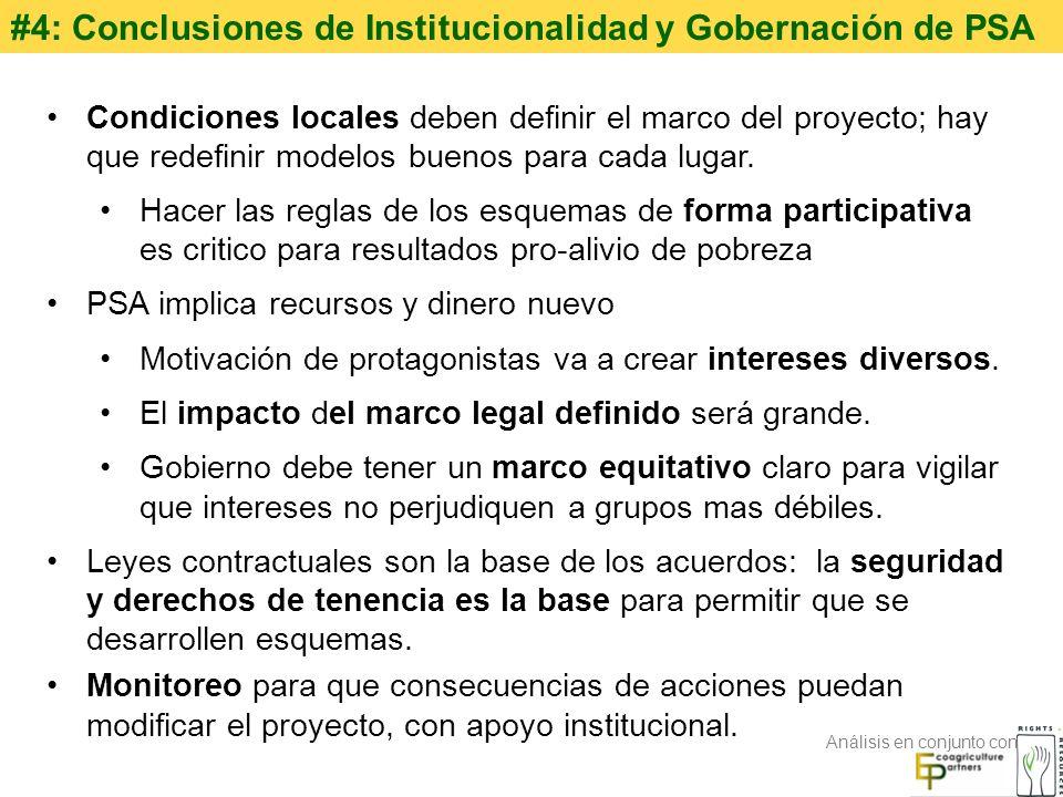 #4: Conclusiones de Institucionalidad y Gobernación de PSA