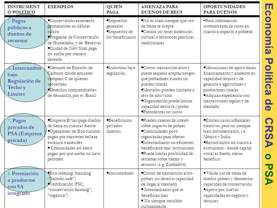 Economía Política de CRSA o PSA