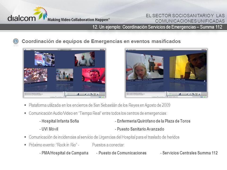 12. Un ejemplo: Coordinación Servicios de Emergencias – Summa 112