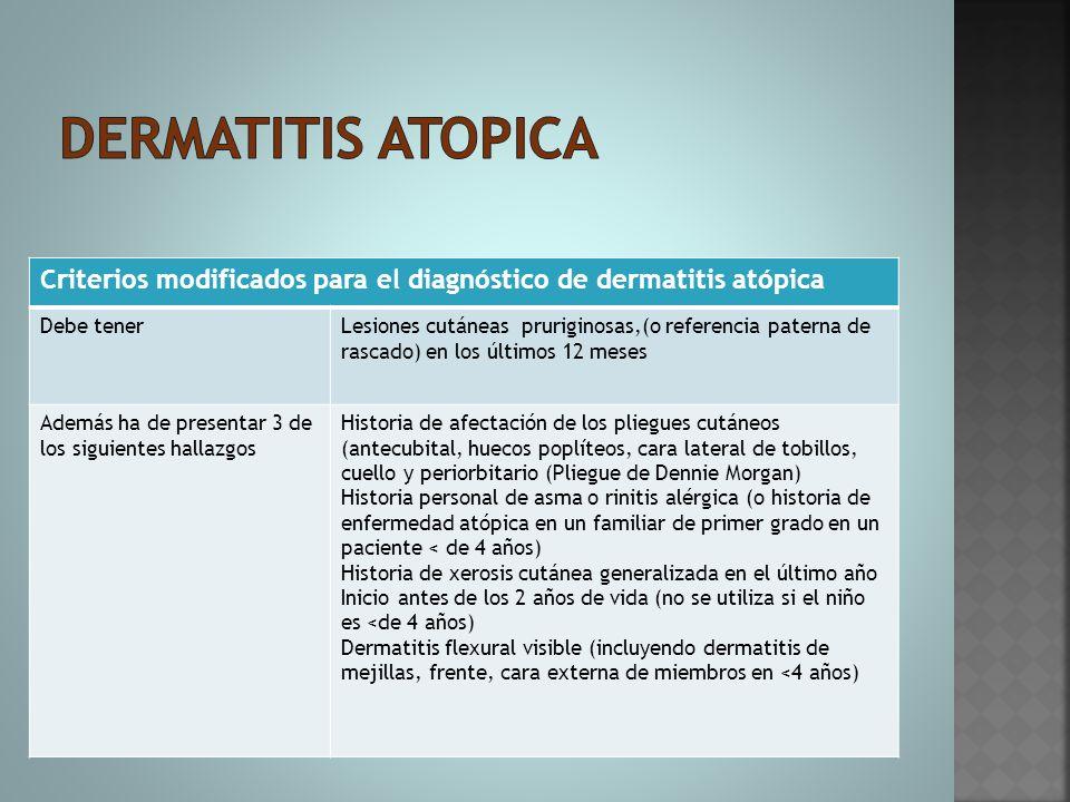 Dermatitis atopica Criterios modificados para el diagnóstico de dermatitis atópica. Debe tener.