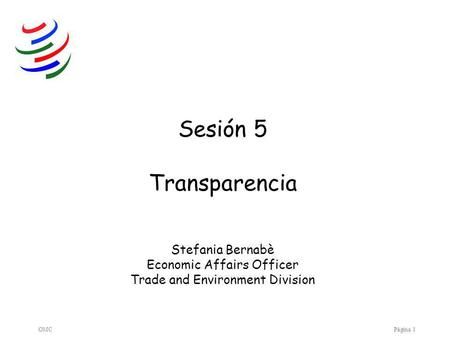 OMCPágina 1 Sesión 5 Transparencia Stefania Bernabè Economic Affairs Officer Trade and Environment Division.