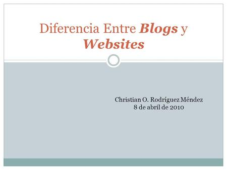 Diferencia Entre Blogs y Websites Christian O. Rodríguez Méndez 8 de abril de 2010.