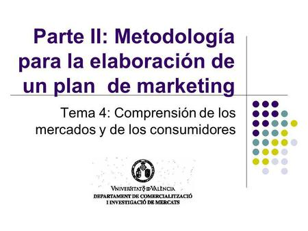Parte II: Metodología para la elaboración de un plan de marketing