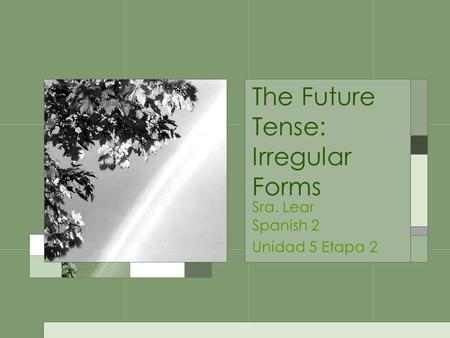 The Future Tense: Irregular Forms Sra. Lear Spanish 2 Unidad 5 Etapa 2.