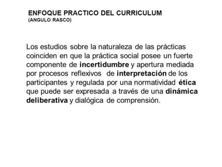 ENFOQUE PRACTICO DEL CURRICULUM (ANGULO RASCO)