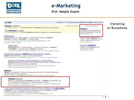 Prof. Natalia Duarte e-Marketing - 1 - Marketing en Buscadores.