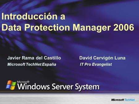 Introducción a Data Protection Manager 2006