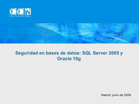 Madrid, junio de 2009 Seguridad en bases de datos: SQL Server 2005 y Oracle 10g.