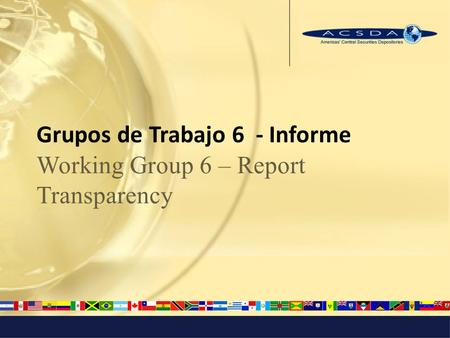 Grupos de Trabajo 6 - Informe Working Group 6 – Report Transparency.